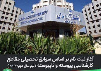 آغاز ثبت نام بر اساس سوابق تحصیلی كارشناسی پیوسته و نا پیوسته نیمسال دوم 97-96 دانشگاه آزاد اسلامی