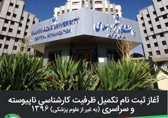 آغاز ثبت نام تكميل ظرفيت آزمون کارشناسی ناپیوسته 1396 دانشگاه آزاد (غیر از علوم پزشکی)