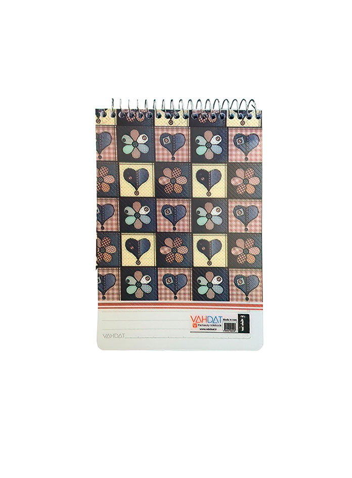 دفترچه یادداشت 80 برگ سایز 1/8 سیم از بالا وحدت فانتزی طرح قلب